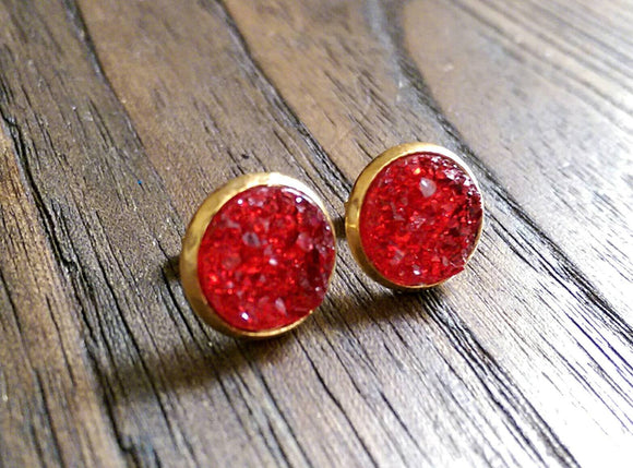 Red Faux Druzy Stud Earrings, Gold Plated Stainless Steel Earrings 12mm