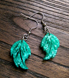 Glitter Leaf Resin Earrings, Mint Glitter Resin Earrings, Stainless Steel Earrings - Silver and Resin Designs