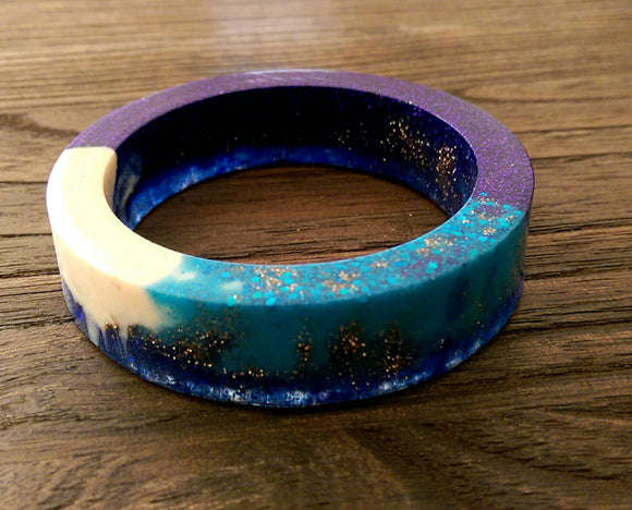 Galaxy Resin Bangle, One of a Kind Mix Blues, White & Glitter Resin Bangle Hand Made 62mm Diameter - Silver and Resin Designs