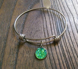 Stainless Steel Adjustable Bangle, Green Faux Druzy Charm