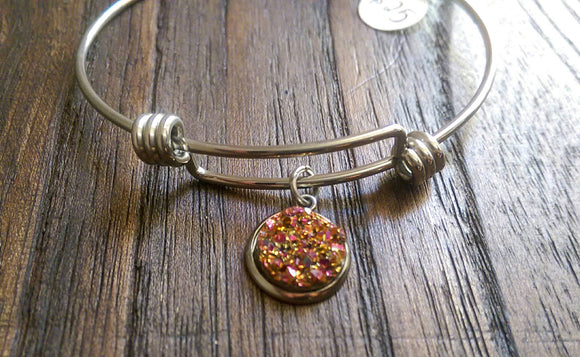 Stainless Steel Adjustable Bangle, Pink Rose Gold Faux Druzy Charm