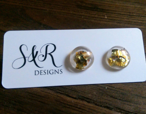 Circle Resin Stud Earrings, Rose Gold, Gold Mix Leaf Stud Earrings 12mm - Silver and Resin Designs