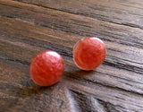 Pearly Red Circle Resin Stud Earrings, Red Earrings, Stainless Steel Stud Earrings. 12mm - Silver and Resin Designs