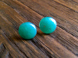 Teal Circle Resin Stud Earrings, Pearl Teal Earrings, Stainless Steel Stud Earrings. 12mm - Silver and Resin Designs