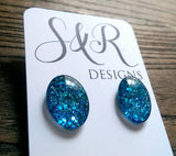 Oval Glass Glitter Resin Stud Earrings made of Stainless Steel, Ocean Blue Glitter Earrings