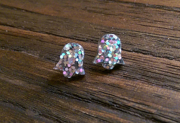 Bell Flower Resin Stud Earrings, Silver Holographic Glitter Earrings. Stainless Steel Stud Earrings.