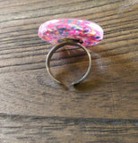 Statement Glass Resin Glitter Ring, Mix Glitter Ring Stainless Steel Adjustable Ring - Silver and Resin Designs