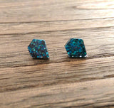 Diamond Cut Resin Stud Earrings, Dark Blue Midnight Sky Glitter Earrings - Silver and Resin Designs
