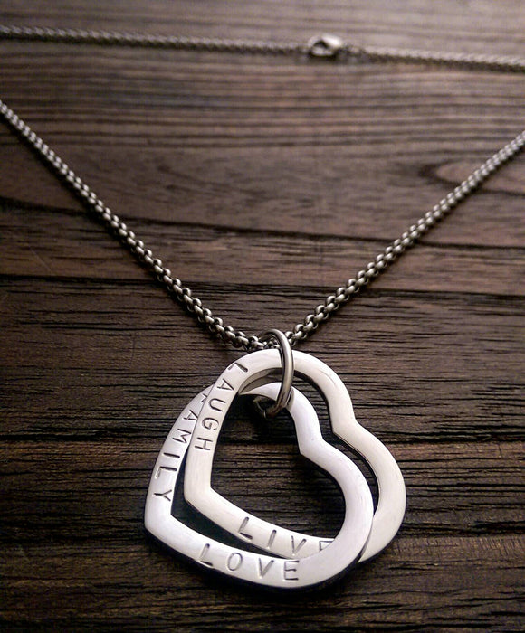 Russian Heart Double Connecting Ring Necklace Personalised Hand Stamped
