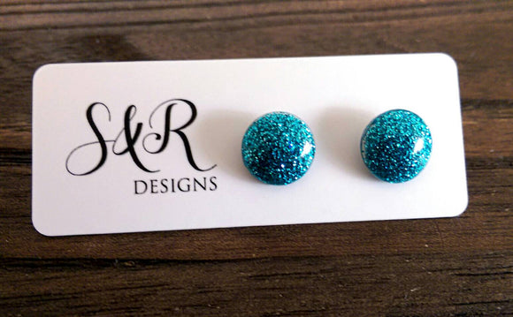 Circle Resin Stud Earrings, Fine Teal Glitter Earrings, Stainless Steel Stud Earrings. 12mm - Silver and Resin Designs
