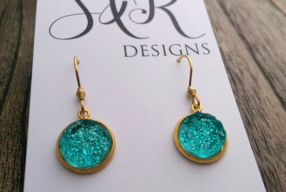 Aqua Blue Faux Druzy Dangle Earrings made of Stainless Steel Gold - Silver and Resin Designs