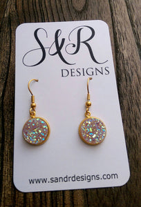 AB Light Pink Faux Druzy Dangle Earrings made of Stainless Steel Gold - Silver and Resin Designs
