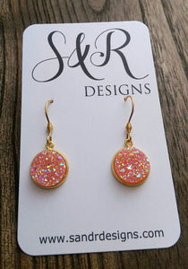 Peach AB Faux Druzy Dangle Earrings made of Stainless Steel Gold - Silver and Resin Designs