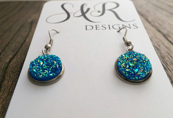 Dark Blue AB Sparkly Faux Druzy Dangle Earrings made of Stainless Steel - Silver and Resin Designs