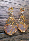 Teardrops Gold Leaf Earrings, Gold Leaf and Blush Teardrop Long Dangle Earrings - Silver and Resin Designs