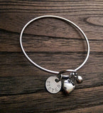 Personalised Hand Stamped Silver Bangle with Two Personalised Discs