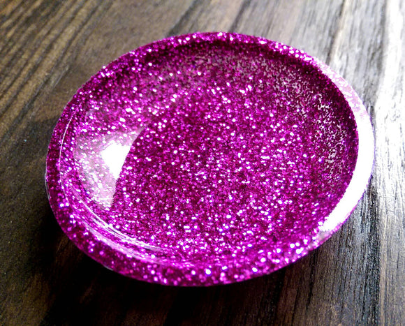 Ring Trinket Dish Pink Glitter Hand Made Resin Dish - Silver and Resin Designs