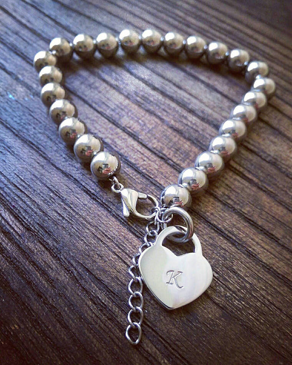 Personalised Hand Stamped Bead Charm Bracelet. Choose Colour and Charm Design. - Silver and Resin Designs
