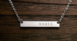 Personalised Name Bar Necklace Curved Bar Stainless Steel. - Silver and Resin Designs