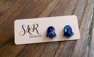 Bell Flower Resin Stud Earrings, Blue Holographic Glitter Earrings. Stainless Steel Stud Earrings.