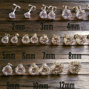 Sterling Silver CZ Stud Earrings, Cubic Zirconia Stud Earrings 2mm, 3mm, 4mm, 5mm, 6mm, 7mm, 8mm, 9mm, 10mm or 12mm