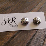 Circle Resin Stud Earrings, Silver Glitter Earrings, Stainless Steel Stud Earrings. 12mm - Silver and Resin Designs