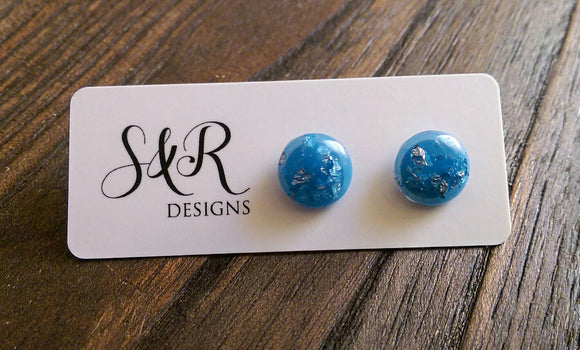 Circle Resin Stud Earrings, Aqua and Silver Leaf Earrings, Stainless Steel Stud Earrings. 12mm - Silver and Resin Designs