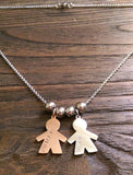 Personalised Hand Stamped Necklace Design your Own with little Boy Charms or Little Girl Charms - Silver and Resin Designs
