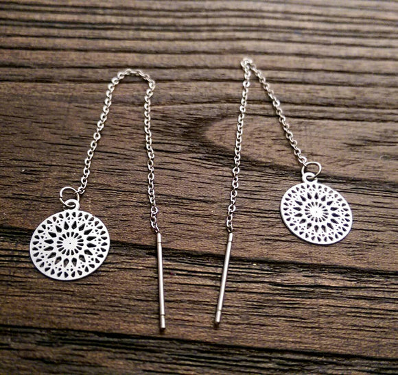 Circle Filigree Stainless Steel Dangle Thread Earrings, Threader Earrings. - Silver and Resin Designs