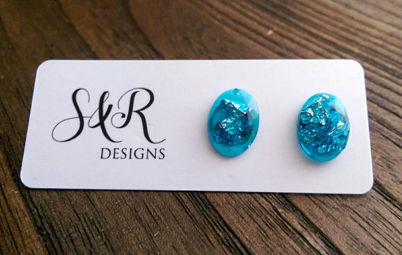 Oval Gem Resin Stud Earrings, Aquamarine Silver Leaf Earrings, Stainless Steel Stud Earrings. - Silver and Resin Designs