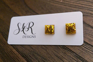 Square Resin Stud Earrings, Glitter Earrings, Gold Glitter Earrings made with Stainless Steel. 8mm - Silver and Resin Designs