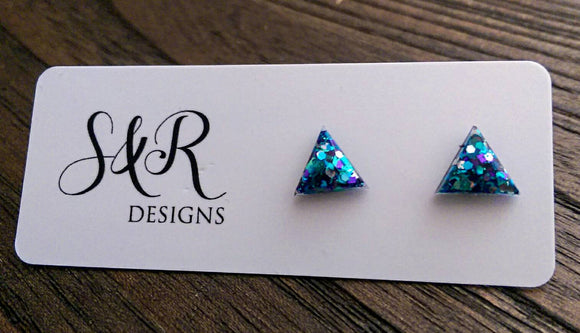 Triangle Resin Stud Earrings, Glitter Earrings, Blue Teal Purple Glitter 10mm - Silver and Resin Designs