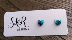 Mini Heart Resin Stud Earrings, Glitter Earrings, Blue Teal Purple Glitter 6mm Minimalist Earrings - Silver and Resin Designs