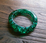 Resin Bangle, Emerald Green Silver Foil Mix Wave Design Handmade Bangle - Silver and Resin Designs