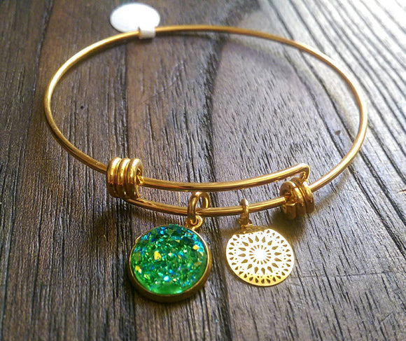 Stainless Steel Gold Adjustable Bangle, Green Faux Druzy Charm and Gold Filigree Charm - Silver and Resin Designs