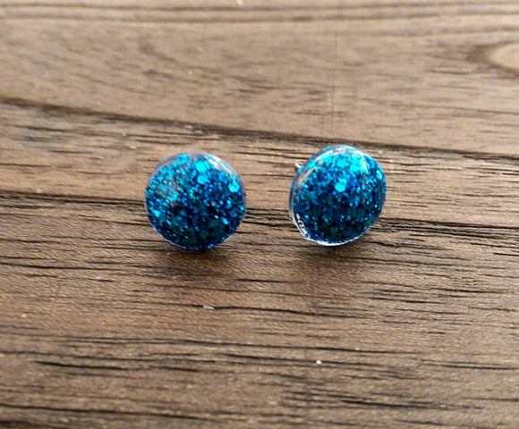 Circle Resin Stud Earrings, Ocean Blue Glitter Earrings, Stainless Steel Stud Earrings. 12mm - Silver and Resin Designs