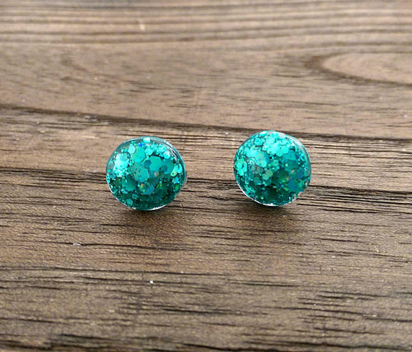 Circle Resin Stud Earrings, Teal Glitter Earrings, Stainless Steel Stud Earrings. 12mm - Silver and Resin Designs