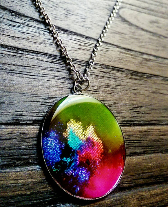 Resin Circle Pendant Necklace, Lime Green Purple Pink Blue Turquoise Gold mix glitter Stainless Steel. 40mm Pendant, Statement Necklace