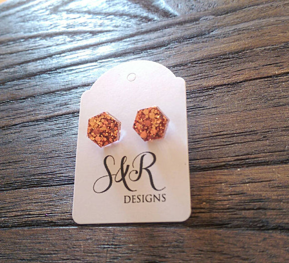 Hexagon Resin Stud Earrings, Rose Gold Copper Earrings. Stainless Steel Stud Earrings. 10mm - Silver and Resin Designs