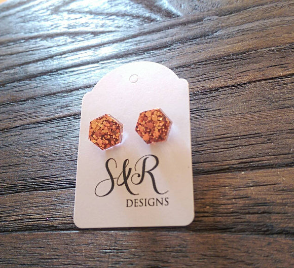 Hexagon Resin Stud Earrings, Rose Gold Copper Earrings. Stainless Steel Stud Earrings. 10mm or 6mm