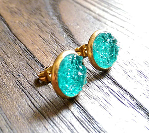 Aqua Faux Druzy Stud Earrings, Gold Plated Stainless Steel Earrings 12mm