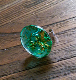 Statement Glass Resin Ring, Emerald Green Gold Leaf Ring Stainless Steel Adjustable Ring - Silver and Resin Designs