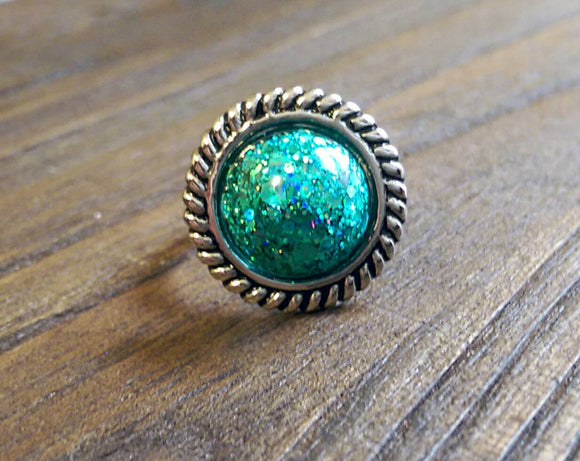 Resin Teal Glitter Ring, Statement Resin Ring, Stainless Steel Statement Ring - Silver and Resin Designs