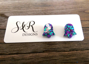 Bell Flower Resin Stud Earrings, Purple, Silver, Teal Glitter Earrings - Silver and Resin Designs