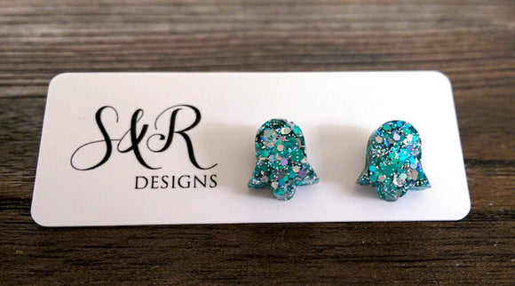 Bell Flower Resin Stud Earrings, Silver Teal Glitter Earrings, Ocean Breeze Glitter Earrings, Stainless Steel Stud Earrings.