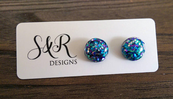 Circle Resin Stud Earrings, Teal Purple Silver Glitter Earrings, Stainless Steel Stud Earrings. 12mm - Silver and Resin Designs