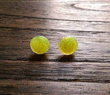 Circle Yellow Resin Stud Glitter Earrings, Stainless Steel Stud Earrings. 12mm - Silver and Resin Designs