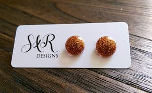 Circle Resin Stud Earrings, Orange Glitter Earrings 12mm - Silver and Resin Designs