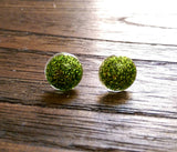 Circle Resin Stud Earrings, Green Glitter Earrings 12mm - Silver and Resin Designs