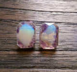 Emerald Cut Resin Earrings, Gemstones Earrings, Amethyst and Opal Earrings, Stainless Steel Earrings